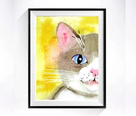 41. Grey Cat Art, Watercolor PRINT, Nursery cat illustration kitty artwork painting animals, Wall art decor color field yellow grey, C
