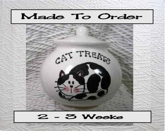 Black & White Cat Treat Jar Ceramic With Lid Handmade To Order by GMS