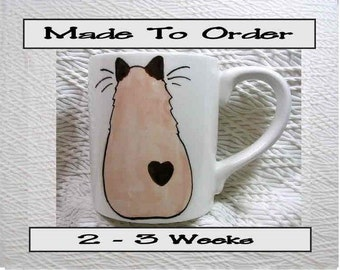 Himalayan Siamese Cat Mug Original Handmade To Order With Paws On Back by GMS