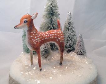 Spun cotton deer fawn woodland winter centerpiece by maria paula