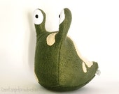 Forest Green Slug Plushie with Tan Spots, Stuffed Plush Insect, Handmade, READY TO SHIP