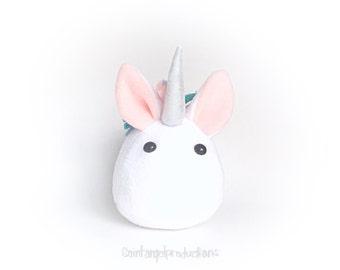 Kawaii Unicorn Plush, Stuffed Small Mythical Pony Handmade Plushie, MADE TO ORDER