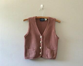 Mauve knit vest / cropped vest / 1990s  Liz Claiborne