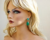 """PRE-ORDER only! SALE 21% Off Angelina Jolie Inspired Emerald Green Onyx Stone Gold Dangle stud Earrings 2"""" Original Size"""