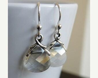 Clearance SALE Swarovski Crystal Earrings Sterling Silver Dangle BE6