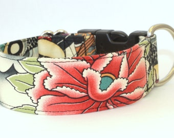 Zen Lotus Dog Collar - Martingale & Buckle 1 - 2 Inch Width