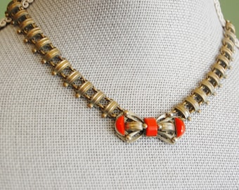 Vintage 1930s Czechoslovakia Necklace Red Stone Unusual Machine Age Art Deco
