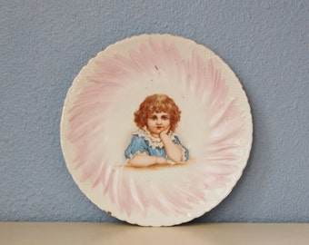 Antique Childs Plate Victorian Porcelain Vintage Girl 1900s