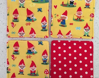 Drink Coasters - Set of 4 - Gnomes on Yellow