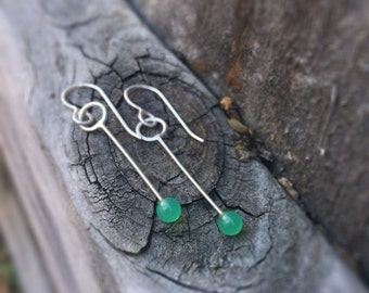 Green Chrysoprase Modern Circle Swing Earrings