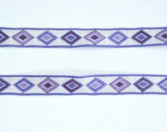 Vintage Jacquard Ribbon Trim - Purple & White Diamond Geometric - 3 yards - Sewing Notion Supplies