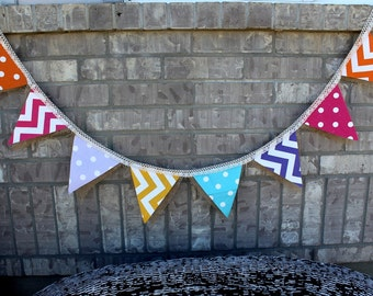 Spring Colors Burlap Bunting Party Banner