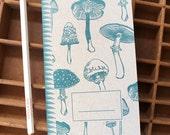 letterpress mushrooms handmade notebook