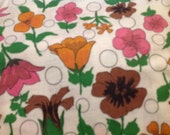 3 Yards in 3 Pieces of Vintage Brown, Pink & Orange Floral Print Cotton Fabric