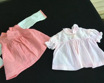 Pair of Vintage Coral and White and Pink and White Gingham Check Baby Girl Dresses