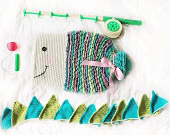 Instant PDF Download, Fishy Hot Water Bottle Cozy, Crochet Pattern