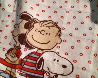 Vintage baby blanket quilt duvet cover and pillow cover with Charlie Brown, Lucy, Linus and Snoopy