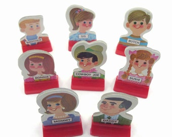 Vintage 1960s Go to the Head of the Class Character Game Pieces Set of 8