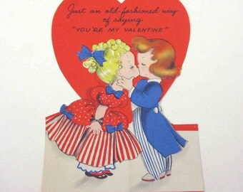 Vintage Children's Novelty Valentine Greeting Card with Old Fashioned Boy and Girl Couple by Hallmark
