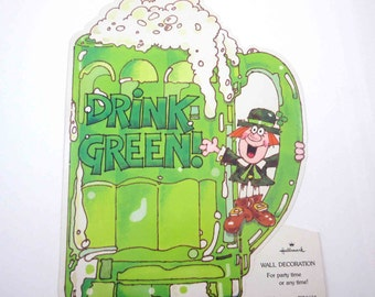 Vintage Cute Leprechaun and Green Beer in Mug Die Cut Decoration for St. Patrick's Day by Hallmark