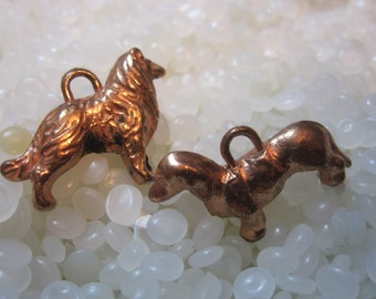vintage charms ,copper dog charms
