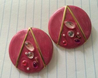 heart pink round metal love enamel gems post stud earring large button diva glam glossy vintage super