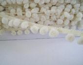 3  yards Pom Pom Trim -  Medium - Number 39 Cream ( Pom pom size  0.9 cm  )