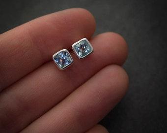 Aquamarine Earrings, Silver Stud Earrings,March Birthstone Earrings, Cushion Cut Post Earrings, Beryl Earrings