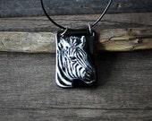 Beautiful Zebra necklace - fused glass jewelry - Fused glass pendant