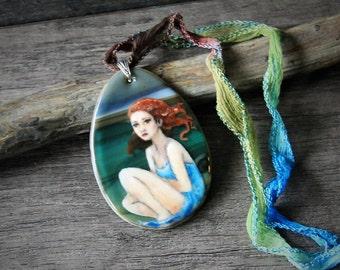 Beach - fused glass pendant -   - boho necklace
