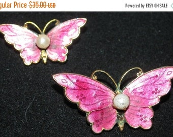 Valentines Day Sale Vintage 1980's Costume Jewelry Butterfly Pins, Pink Enamel retro 80's Butterflies, Pearls, Hot Pink, delicate feminine f