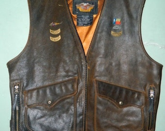 Valentines Day Sale Harley Davidson Distressed Brown Leather Billing Rumble Vest XL, Lone Star Rally, Galveston, Ruidoso, HOG, Distressed He
