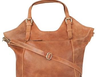 Tan Leather Handbag, Tote, Bag, Shoulderbag