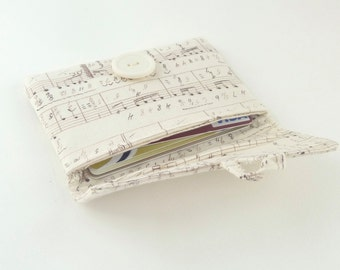 cream card case. womens card holder. music note fabric pouch. ivory white cute business card small wallet. cotton teacher teen girl gift
