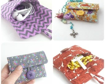 cute earbud pouch. case for rosary. cute pouch. grey purple chevron small fabric padded ear bud case