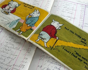 Children's Book 5 Little Pigs Saalfields Muslin Cloth Book Vintage Nursery