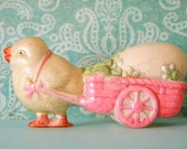 Vintage Celluloid Easter Chick Pulling Egg in Cart