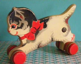 Vintage Wooden Kitty Cat on Wheels Gecevo German Toy with Airbrushed Features