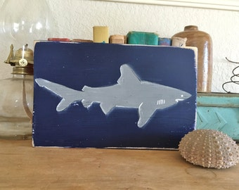 NEW Design Shark Sign One of a Kind Silhouette Week Surfing Summer Vintage inspired Blue Wood  RUSTIC and Primitive Beach Surfer Reclaimed