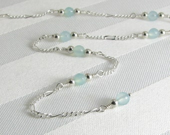 Faceted Aqua Chalcedony and Sterling Silver Adjustable Chain Anklet