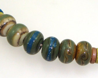 Handmade Lampwork Beads - Mesa! 3 pairs. Fine silver, silvered ivory, olive, denim, caramel. Earring pairs. Organic Earth Tones.