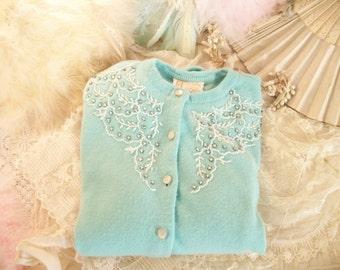 1950s vintage soft aqua beaded cardigan sweater, seed 'pearls', prong set rhinestones, soft acrylic, petite size M/L, very good condition