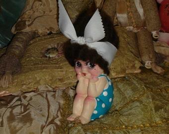 Vintage Thinker Kewpie Doll Beach Baby Repaint Brunette