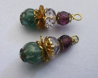 Vintage Glass Bead Drops (2)(30mm) Dangles Earrings