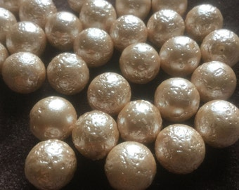 Vintage Glass Beads (8)(12mm) Creamy Bumpy Japanese Glass Pearl Beads