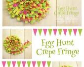 Egg Hunt Handmade Crepe Paper Fringe, Festooning, Trim, Garland, Decoration, Party, Craft Supply, Streamer, DIY, Easter, Lime, Pink, Yellow