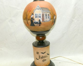 Halloween Lamp Witch Globe Table Lamp  All Hallows Eve Hand Painted Primitive Folk Art Flying Witch Pumpkin Jack O Lantern One of a Kind
