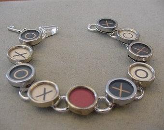 Typewriter Key Bracelet X O HUGS and KISSES Typewriter key jewelry I Love You Valentines Day Gift