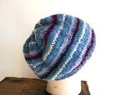 SALE Tweed wool striped hat, beanie Hand Knit - Tahki English yarn dusty blue, teal, wine - women men unisex