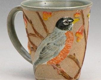 Stoneware Mug with American Robins and Crabapples